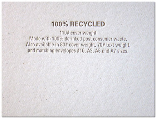 100% Recycled Paper Stock