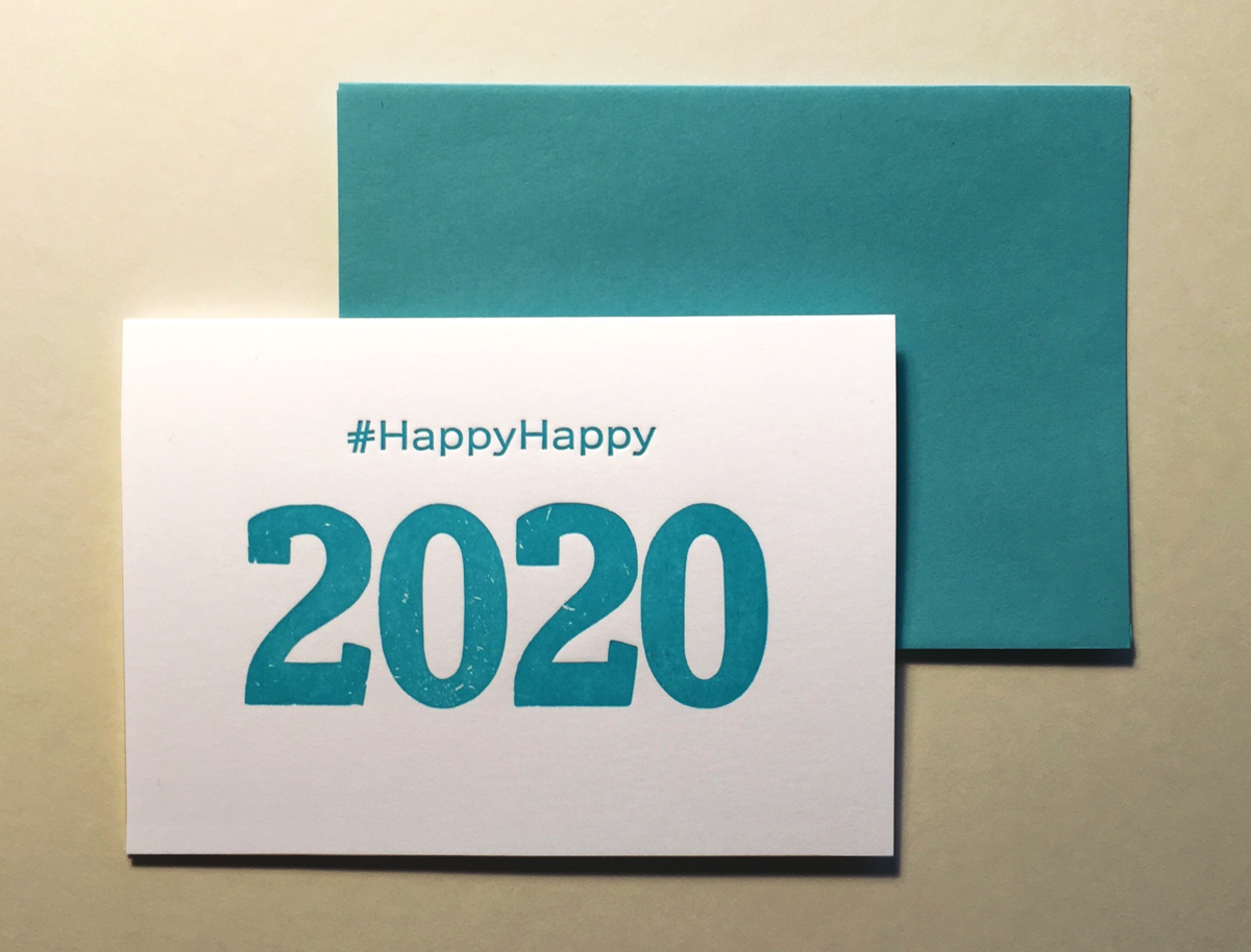 2020 Letterpress New Years Card and Envelope